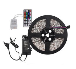 Wholesale Pc Meter - Hot selling!!Led Flexible Strip RGB 5M SMD 5050 60LED Meter +IR Remote Led Controller + 12V Power supply