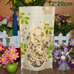 """Wholesale Ziplock Stand Up Food Bag - 12*20cm (4.7*7.9"""") Green Leaf Stand Up Pouch Doypack Self Seal Zipper Plastic Packing Bag Ziplock Food Storage Packaging With Clear Window"""