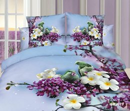 Wholesale Wholesale King Size Quilt Sets - 7pcs 3D Floral bird print California king bedding set quilt duvet cover designer fitted bed in a bag sheet bedroom 100% cotton queen size