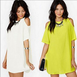 Wholesale Strapless Chiffon Mini Dress - Wholesale-Fashion Summer style brand chiffon mini dress women Strapless Loose beach casual Dresses Plus 3xl solid clothing