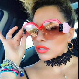 Wholesale Italian Brand Glasses - Oversized Square Rimless Half Frame women's Sunglasses italian brand designer Shades Fashion 2018 female big pink sun glasses for men oculos