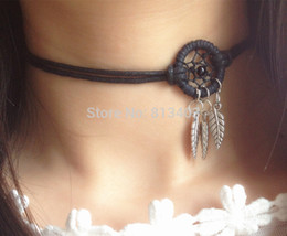 Wholesale Necklace Designs Handmade - New Design Dream Catcher Chocker Necklace Bracelet With Alloy Feathers Choker Necklaces Handmade