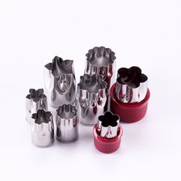 Wholesale Wholesale Metal Flower Cutters - cake mould Cake cookie cutter Stainless steel 8 piece set flower type vegetable cutters baking tools