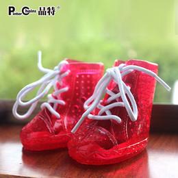 Wholesale Small Dog Sandals - Wholesale-Crystal sandals pet dog shoes 2015 NEW HOT SALE fashion waterproof shoes rain boots anti-slipping shoe covers PVC 4pcs set