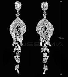 Wholesale Amber Sterling Jewelry - Fashion Women Long Earrings Crystal Rhinestone Jewelry Bridal Earrings Wedding Party Shiny DANGLE Bridesmaid Earrings Accessories