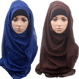 Wholesale maxi scarves plain - Shawls and scarves solid plain hijab scarf women wraps foulard viscosecotton maxi shawls soft long islamic muslim scarves hijabs