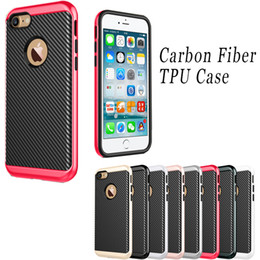 Wholesale Iphone 4s Silver - Carbon Fiber Flexible TPU cover electroplating PC frame Hybrid bumblebee case slim armor for iPhone 7 6 6S Plus 6Plus 7plus 5C SE 5 5S 4 4S