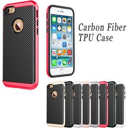 Wholesale Iphone 4s Cases Slim - Carbon Fiber Flexible TPU cover electroplating PC frame Hybrid bumblebee case slim armor for iPhone 7 6 6S Plus 6Plus 7plus 5C SE 5 5S 4 4S