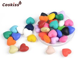 Wholesale Shaped Silicone Bracelets - Mixed Color Natural Heart-shaped Geometric Hexagon Food Grade Silicone Beads Baby Teether Toys DIY Necklace Bracelet Accessories