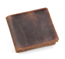 Wholesale Handmade Leather Card Wallet - 8056R Handmade Retro Crazy Horse Leather Wallet Mens Thick Cowhide Wallet Short Folded Card Package Free Shipping 20PCS LOT
