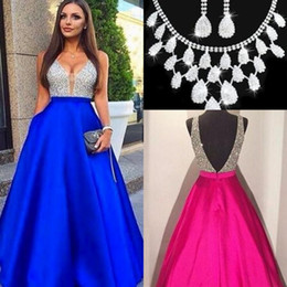 Wholesale Ivory Pearl Sets - 2017 New Sexy Guest Dresses V-Neck Prom Dresses A-Line Beads Satin Backless Zipper Evening Dresses Custom Made With Free Necklace Set