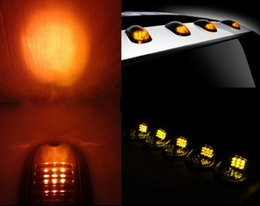 Wholesale Roof Led Lights For Trucks - 5pcs Smoked Amber LED Cab Roof Running Marker Lights Set For Truck SUV Off Road