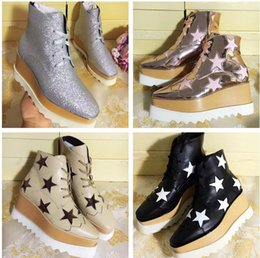shoe box creepers Coupons - Women Leather Ankle Boots Stella Mccartney Star Creepers Shoes Rose Gold Strappy Wedges Platform Winter Flats Shoes Espadrilles Original Box
