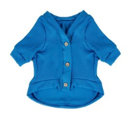 Wholesale Wholesale Apparel Bow Shirt - Wholesale-Pet Dog Clothes Sweater Cat Puppy Shirt Fashion Design Apparel Solid Blue Green Clothing 5 Sizes Free Shipping