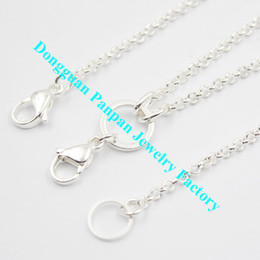"3mm rolo chain Coupons - Panpan 30"" silver plated plated 3mm width Custom rolo Chain for memory locket"
