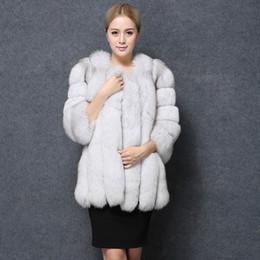 a3e9f43520b9 faux red fox coat 2019 - Wholesale-Fashion Women Pink Faux Fox Fur Coat Long
