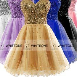 Wholesale Sweetheart Cocktail Dresses Cheap - Sparkly Gold 2015 Short Prom Dresses Party Evening Sequined Sweetheart A-Line Mini Homecoming Cocktail Party Gowns Corest Cheap Prom Dresses