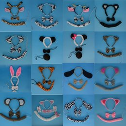 Wholesale White Tail Cosplay - Girls Boy Kids Animal Ear Dog Elephant Pig Headband Tie Tail Halloween Birthday Party Cosplay Carnival Children'Day Christmas Wedding