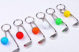 Wholesale Golf Clubs For Women - Metal Golf Keychains Novelty Sports Keyrings Metal Ball Keyrings for Promotion Sports Keyrings Golf Clubs Ring Key Fob rod