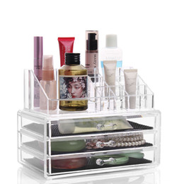 Wholesale Crystal Clear Nail Acrylic - Three Layer Drawer Clear Acrylic Crystal Cosmetic Organizer Makeup Case Storage Box Jewelry Display Stand Holder Nail Polish Rack
