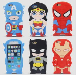 Wholesale Super Cute Iphone Cases - 3D Cute Cartoon Super Heroes Batman spider-man Captain America Iron Man Soft Silicone Rubber Back Cover Case For iPhone 5 5G 5S