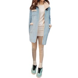 Wholesale Korea Jacket Women Style - Hot Korea Style Winter Coat Women Suede Fleece Lining Pockets Turn-down Collar Fur Long Sleeve Warm Jacket Outerwear Overcoat