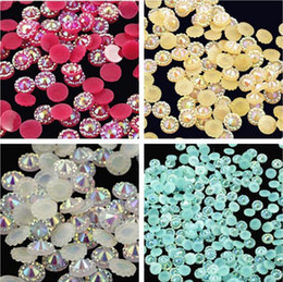 Wholesale Flat Nail Pearls - 10000pcs 5mm Jelly AB 10 color Sunflower Flat Back Beads Resin Rhinestones Gems Nail Art Craft Diy Scrapbooking