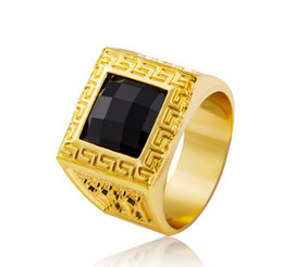 Wholesale Men Rings Gem - Gold Rings Bling Crystal Gem Ring Men Gift Hip Hop Rings Saudi Arabia Wedding Ring For Men Jewelry Free Shipping Gifts