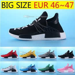 Wholesale Mens Chinese Shoes - 2017 Hot Wine-red Human race Chinese Word nmd mens Running Shoes for men sports NMD HUMANRACE Couple Top Brand Shoes NMD Runner Size 36-47
