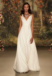 Wholesale Cheap Jenny Packham Wedding Dresses - 2016 Jenny Packham Wedding Dresses Elegant A Line Deep V Neck with Beading Maternity Evening Dresses Chiffon Formal Long Party Dresses Cheap