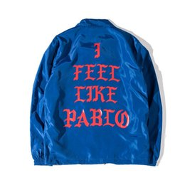 Wholesale Red Overcoat Men - West I Feel Like Pablo Season 3 long sleeve Jacket brand clothing hip hop coat homme sportswear overcoat
