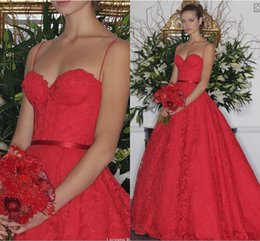 Wholesale Black Princess Line Dress - Princess Lace Evening Dresses Vintage A Line Spaghetti Straps Red Party Gowns 2016 Spring Formal Women Prom Gowns