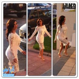 Wholesale Kardashian Plus Size - 2017 Modern Sheath Short Lace Wedding Dresses Kim Kardashian Sexy Full Celebrity Gowns Knee Length Bateau Plus Size Short Party