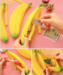 Wholesale Cute Banana Cartoon - High Quality Silicone Coin Purse Stylish Fruit Wallet Student Coin Wallet Cute Banana Mini Wallet girl Coin Purse