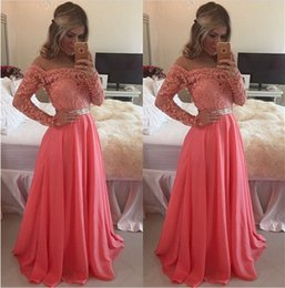 Wholesale Dress Evening Watermelon - Off the Shoulder Long Sleeve Prom Dresses Vintage Lace with Beads 2017 A Line Watermelon Chiffon Party Gowns Long Formal Evening Wear Custom