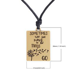 Wholesale Good Things - Good Quality Fitness Zinc Alloy Antique Silver&Gold Floating Sometimes We Just Have To Let Things Go Message Charm Rope Pendant Necklaces