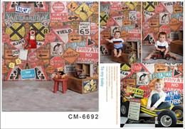 5X7FT voiture signes peinture murale pour bébé photos mousseline ordinateur imprimé numérique photographie fond vinyle toile de fond ? partir de fabricateur