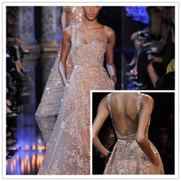 Wholesale Silver Bling Evening Gowns - 2015 Luxury Elie Saab Bling Beading Evening Prom Dresses With Square Appliques Sexy Open Back Sweep Train Custom Pageant Party Gown 2016