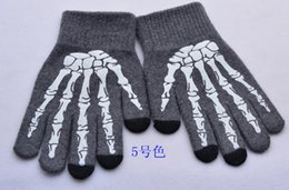 Wholesale Wool Ipad - Skull Winter Glove Warm 30% Wool Touch Screen Glove Smart Gloves Showtime Glove for Stage Performance Stage Spot Gloves for iPhone iPad