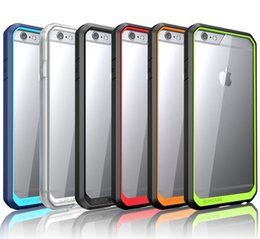 Wholesale case iphone usa - USA Supcase Hybrid 2 in 1 TPU Colorful Bumper Clear Transparent Hard PC Back Cover for iPhone 5 5S 6 6plus 6S Samsung S6 edge plus Note5