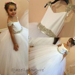 Wholesale Wedding Puff Sleeves Dress - Spark Crystals Belt Off the Shoulders Flower girls' Dresses for Wedding 2017 Cute Floor Length Princess Gown Puff Tulle Skirt Gir's Pageant