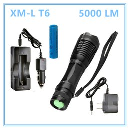 Wholesale ac battery chargers - LED flashlight 5000 LM XM-L T6 Torch Zoomable led flashlight with AC charger + battery + car charger