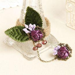 Wholesale Adjustable Snake Rings - Hot sale Ajustable Boutique Pearl Bracelet Ring Vintage Adjustable Bronze Alloy Accessories flower Slave bracelet D515L