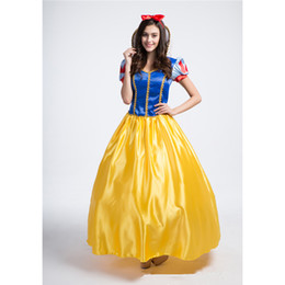 Wholesale Stage Costumes For Women - Women's Deluxe Snow White Princess Long Dress Costume with Petticoat For Halloween Stage Cosplay Fancy Party Dress Size S-XXL