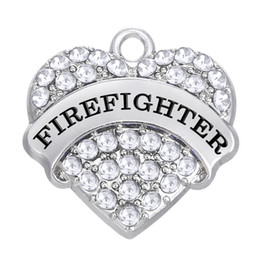 Wholesale Material Jewelry - Special Design New Arrival Zinc Alloy Material Initial FIREFIGHTER Pendant Charms Heart Crystal Elegant Jewelry Accessory