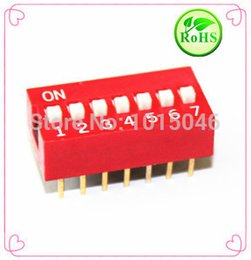 10PCS Red Dial Switch DS-01 DS-02 DS-03 DS-04 DS-05 DS-06 DS-07 DS-08 DS-10 DS-12 Bit 2.54mm Flat Dial Code Dial Switch Color: DS-05 5P