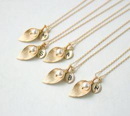Wholesale Calla Lily Pendant - Vintage Matte 925 Silver Gold Chain Wedding Heart Pendant Necklace Silver Calla Lily Necklace Charms 2000PCS DHL