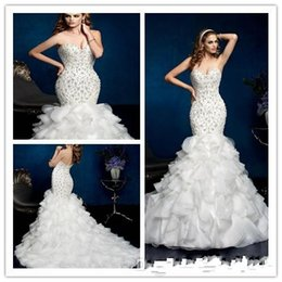 Wholesale Short Wedding Dress Long Tail - 2015 Free shipping wedding dress sexy Mermaid Sweetheart Floor length Sweep Beaded Fold Satin bride dress with long tail wedding gowns 2016