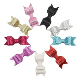 Wholesale Wholesale Hiar Bows - Girls Hair Accessories Baby Hiar Bows Clips 3.5 Inch Glitter Bows With Duckbill Clips Childrens Kids Artificial Leather Boutique Bow Hairpin