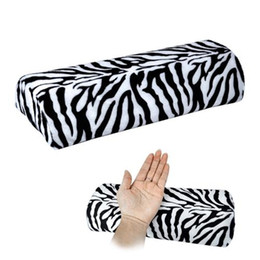 Wholesale Zebra Stripe Cushions - New Zebra Stripe Soft Hand Cushion Pillow Rest for Nail Art Manicure Half Column Pink Nail Polish Painting Manicure Sponge Cushion Holder
